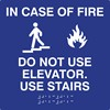 In Case of Fire Tactile and Braille Compliant Sign